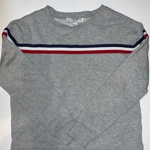 Tillys Gray Sweatshirt with red-white-blue stripes